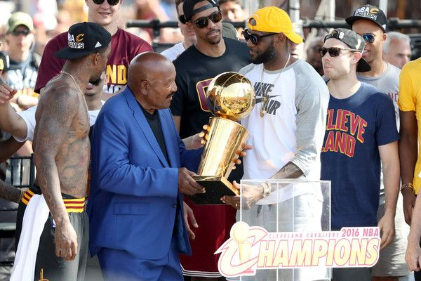 708f451ca2c NFL Hall of Famer and former Cleveland Brown Jim Brown hands the Larry  O Brien Trophy to LeBron James  23 of the Cleveland Cavaliers during the  Cleveland ...