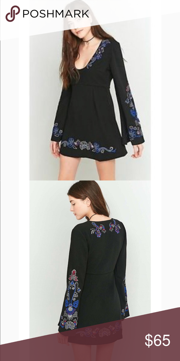 16af40f6c27b Free People Holiday Folk Mini Dress Black Combo Details - Scoop neck - Long  bell sleeves