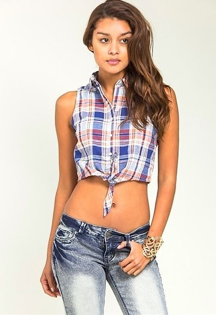 224f4faa Sexy Red White Blue Plaid Tie Button-up Cropped top Crochet Back Country  Girl #LoveTreeHappens #CropTop #Casual