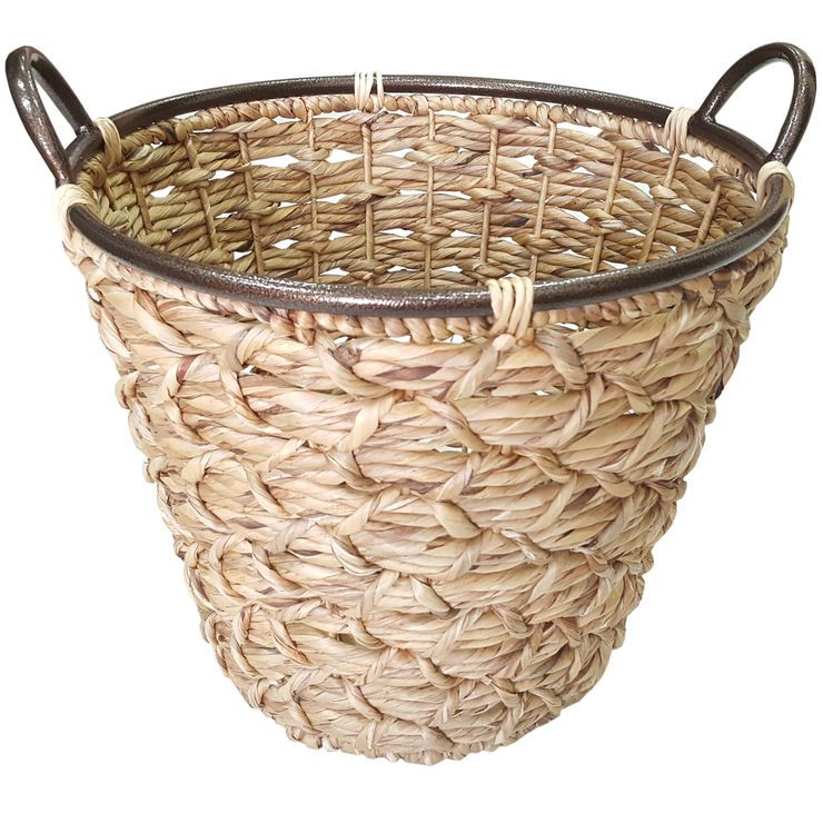 Small Light Brown Round Weave Tapered Basket Basket Brown At