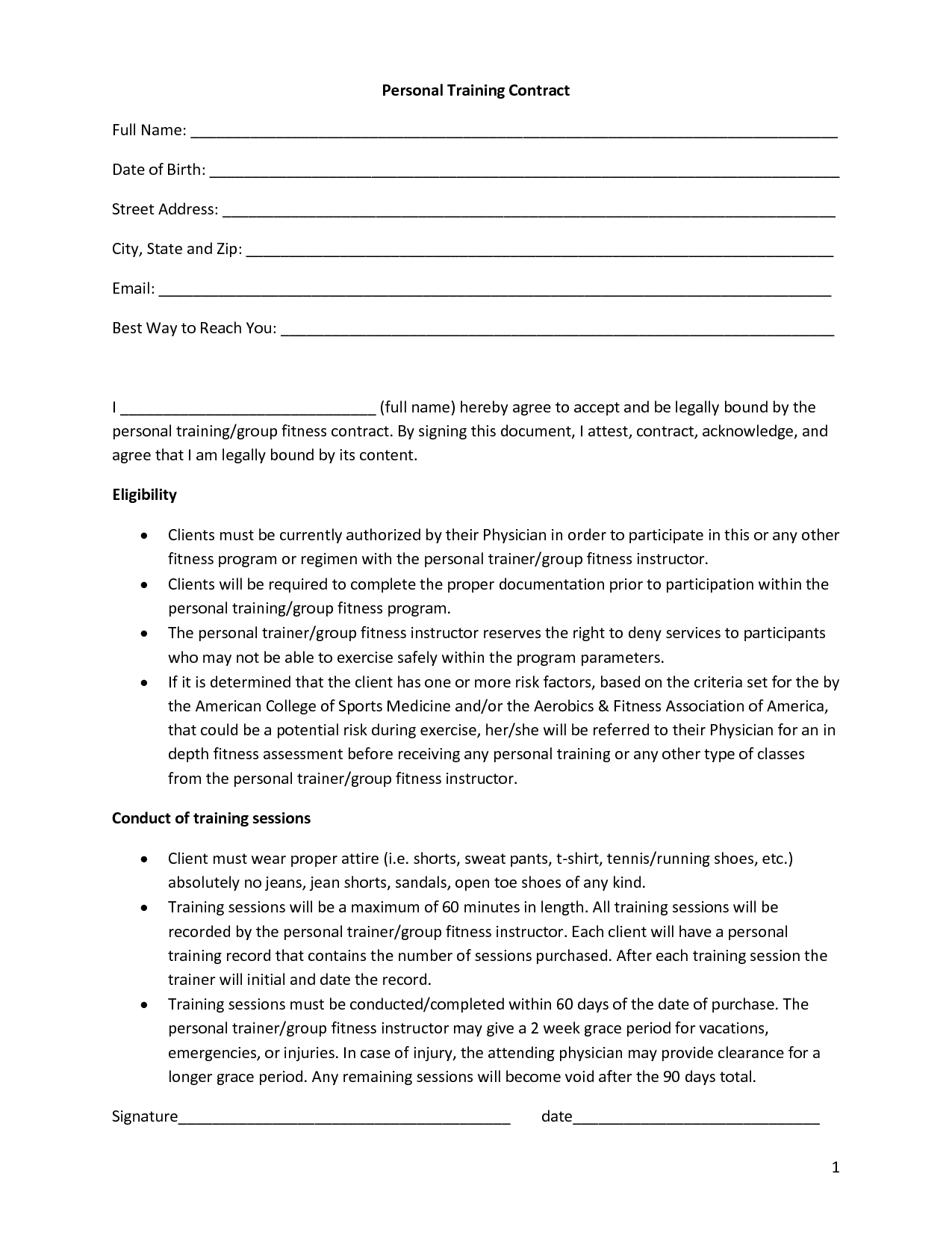 Personal Training Contract Full Name Date of Birth Street by – Training Agreement Contract