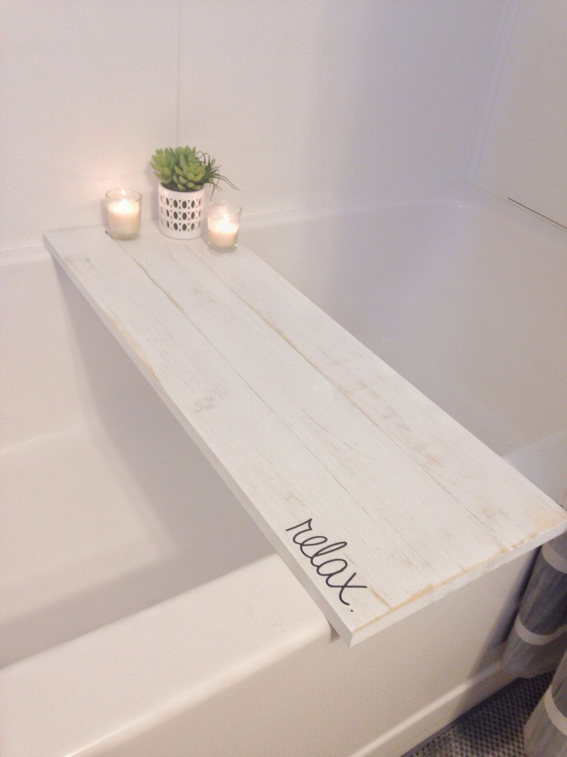Bath tub tray caddy bath tray bath caddy white rustic for Bathroom tray decor
