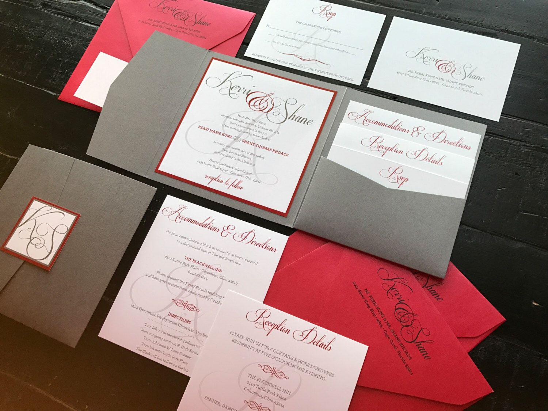 Red & Grey Custom Pocket Wedding Invitation Suite; includes an RSVP ...