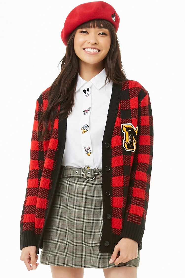 5239d9d39a057 Mickey Mouse Belted Glen Plaid Skirt