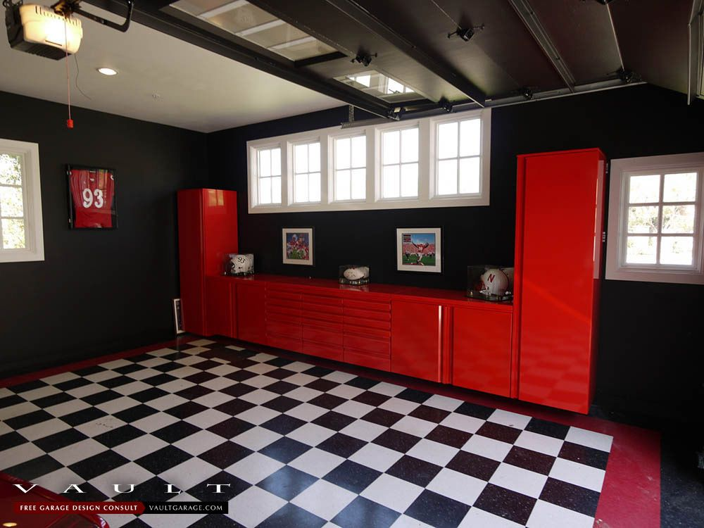 Garagecabinets In Cornhusker Red Vault Customers Love That They Can Customize Their Powder Coating To Garage Walls Garage Interior Garage Storage Solutions