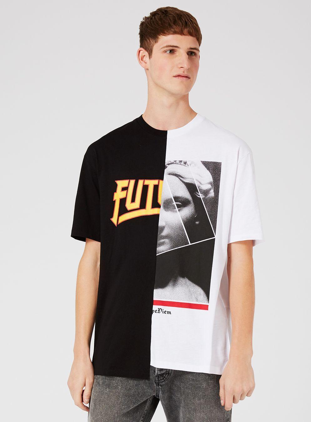Black And White Spliced Oversized T Shirt   Oversized