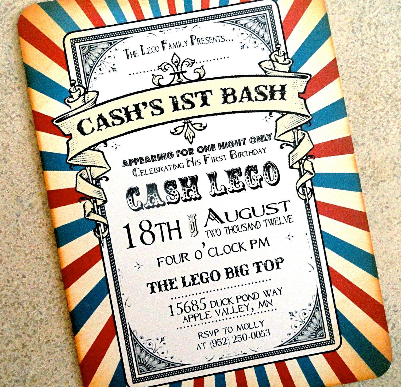 Vintage Invitation - Carnival Birthday Invitation - Vintage Circus ...
