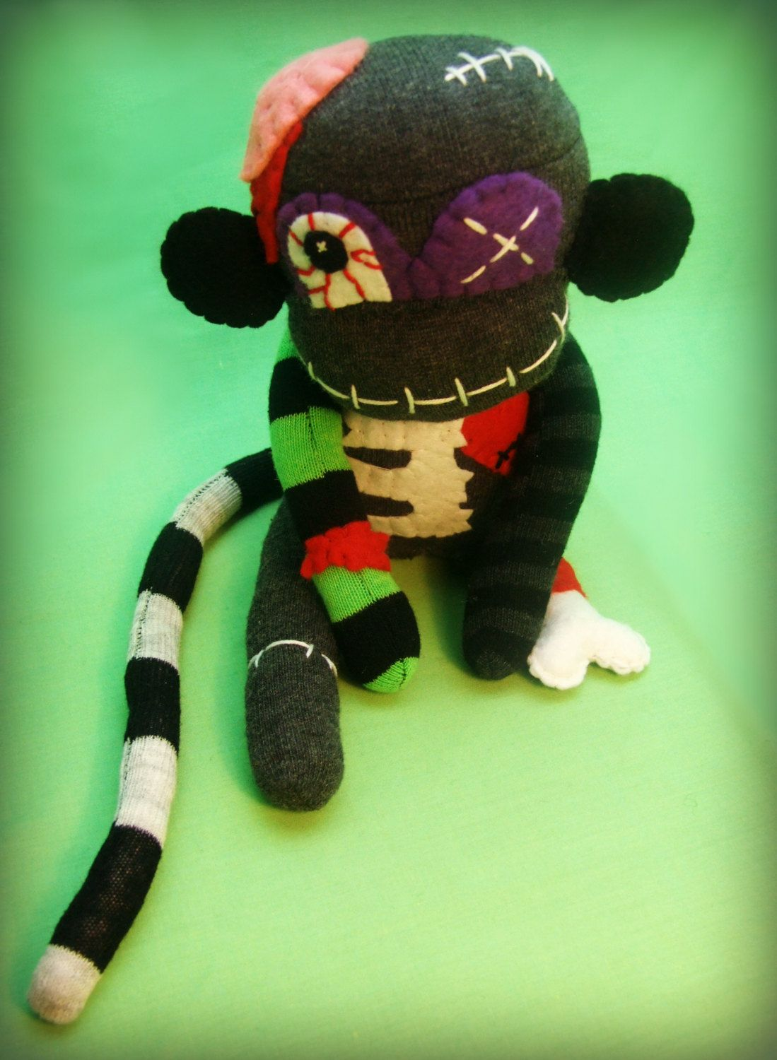 zombie sock monkey monster - frankenstein/halloween handmade plush
