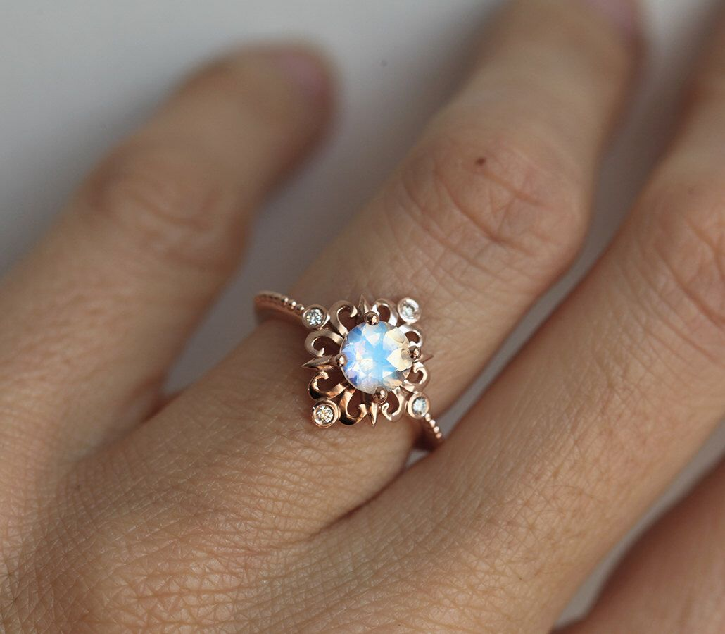 Rainbow moonstone ring moonstone engagement rose gold engagement