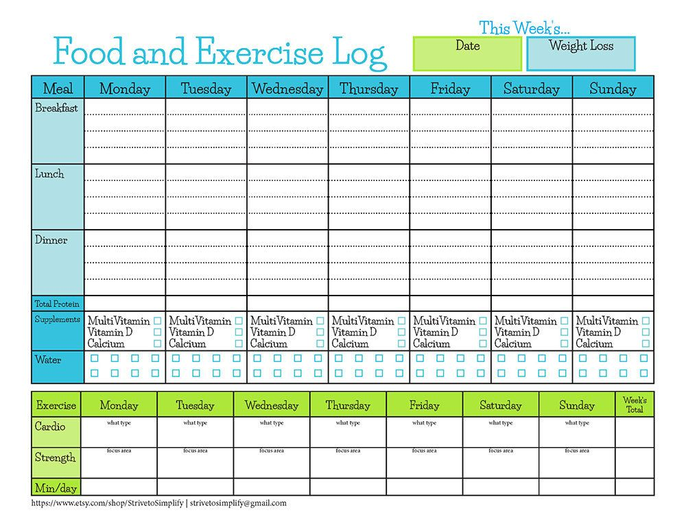 Bariatric Surgery Weekly Food Exercise Tracker  Weight Loss