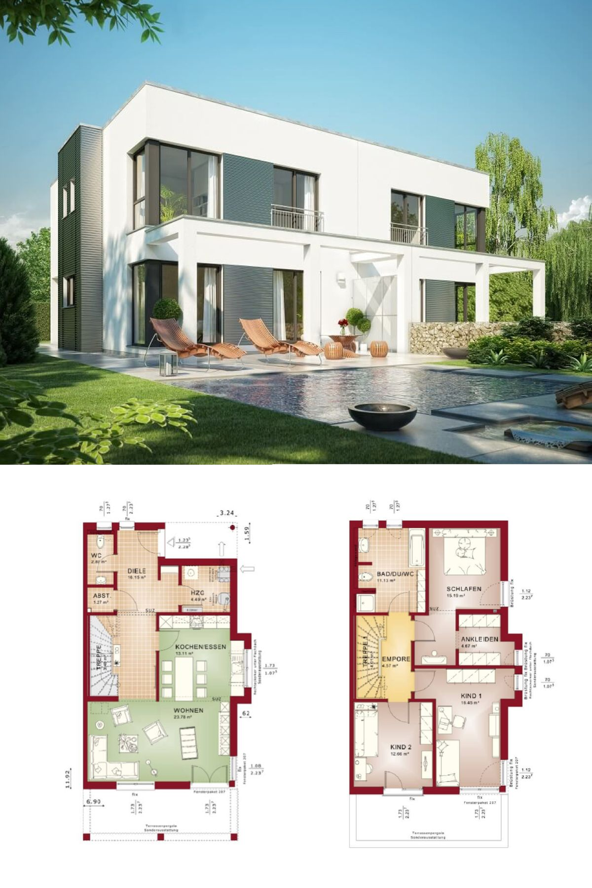 Design doppelhaus im bauhaus stil mit grundriss haus for Minimalistisches haus grundriss
