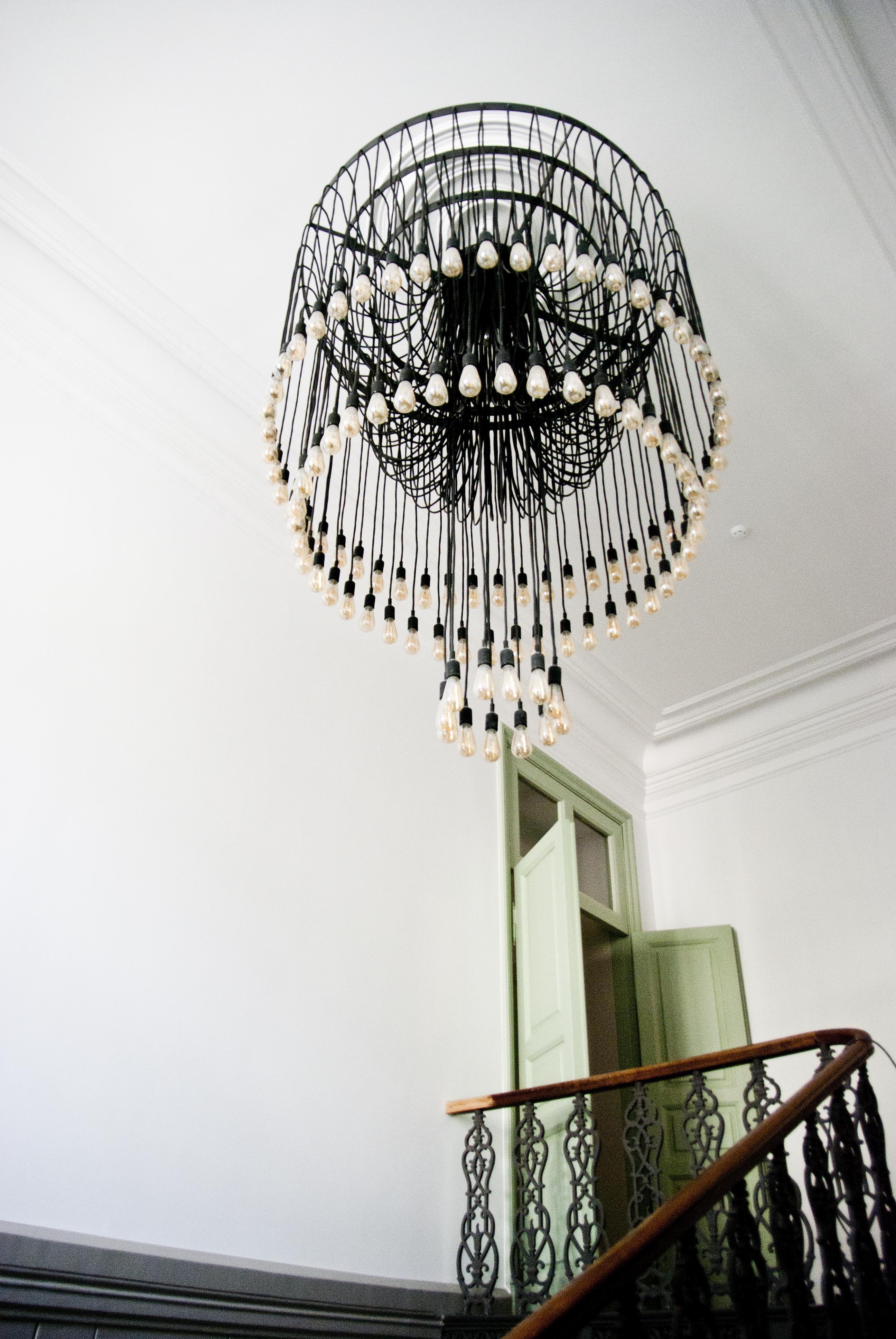 Industrial lighting in stairway. Design of light. Architecture ...
