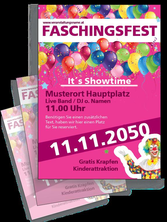 In den Farben #Grün #Orange oder #Pink können Sie jetzt kostenlos die #Flyer Vorlage für Ihr Faschingsfest online erstellen.