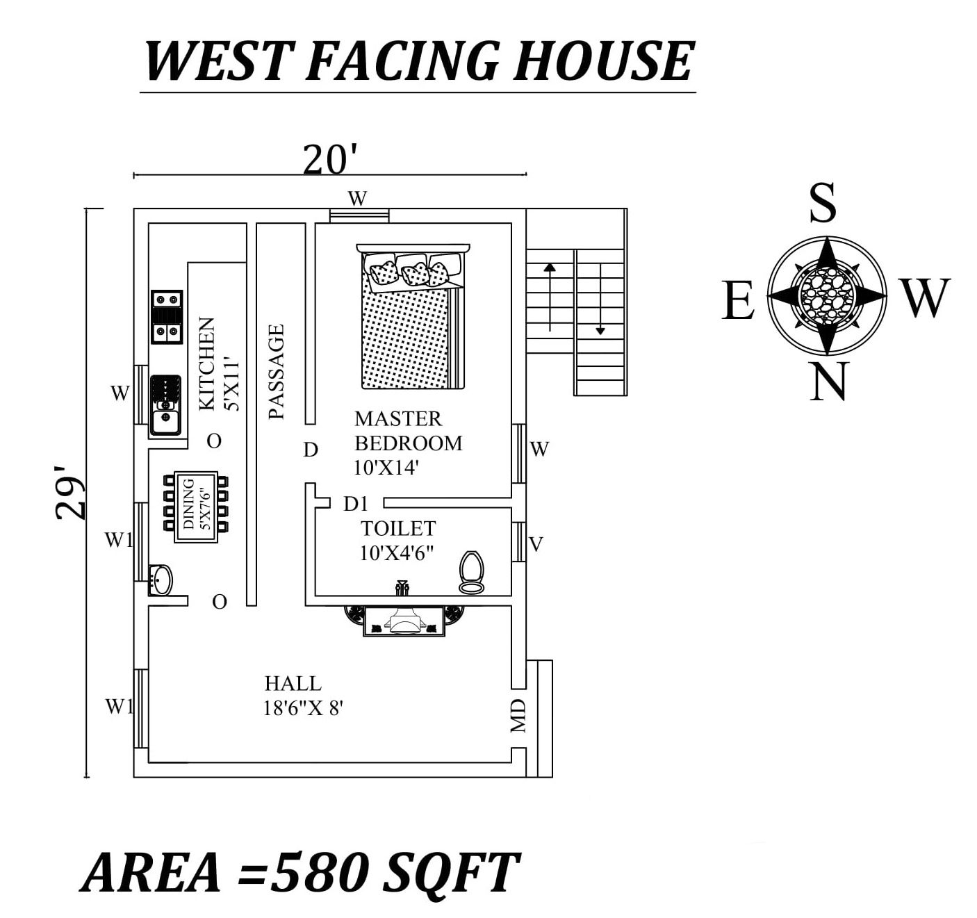 Autocad Drawing File Shows 20 X29 Single Bhk West Facing House