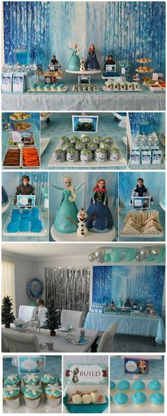 """Disney Frozen Party Table with Elsa and Anna cakes, Troll truffles, Hans Sandwiches, Kristoph's Ice, Sven's reindeer snacks, blue lemonade, melted snow (water), Frozen themed lolly bags, Anna's chocolate cupcakes, coronation cupcakes, and """"build a snowman"""" activity"""