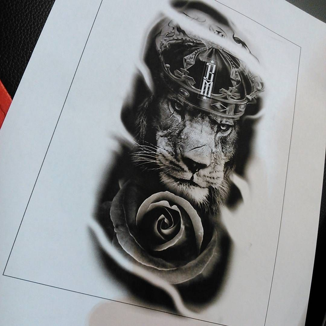 Tattoo Ready To Grab King Lion Crown Rose Tattoo Design Forearm Lion Tattoo Lion Tattoo Design Lion And Rose Tattoo