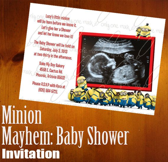 Minion mayhem baby shower invitation check out only one mark incs custom minion mayhem set of 25 baby shower invitations with envelopes despicable me inspired 5x7 photo invite event stationary filmwisefo Images