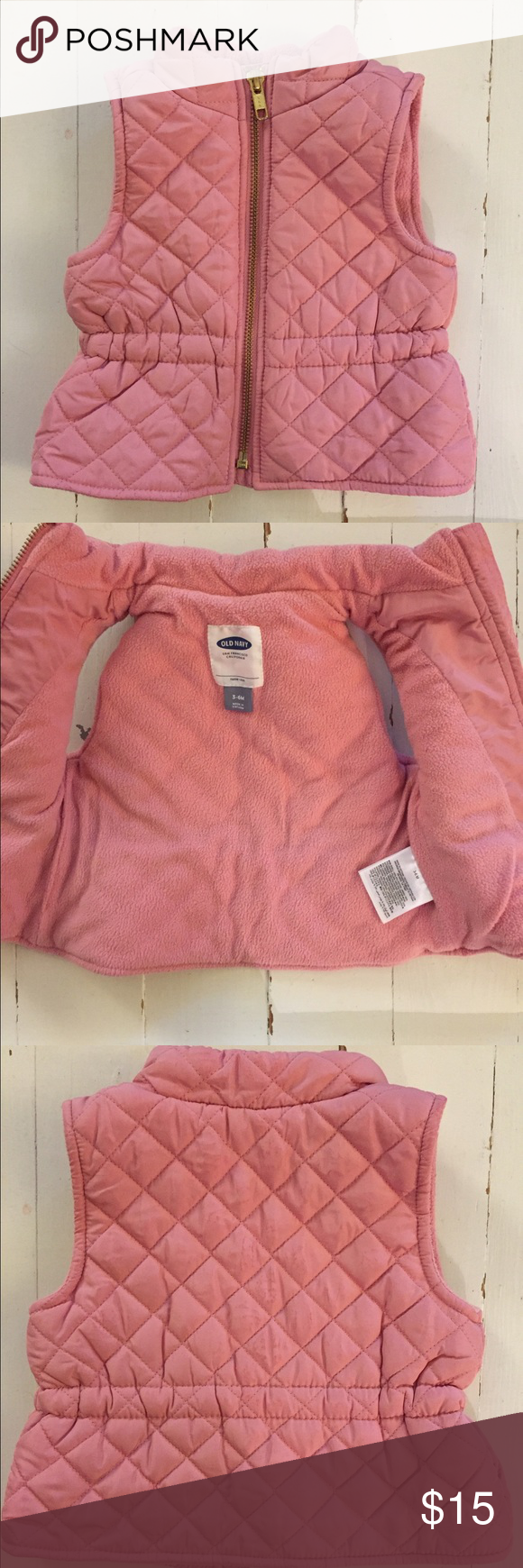 Pink Puffy Vest size: 3-6mo, old navy Gently used, color: kitten kisses, perfect for layering with a onesie! Old Navy Jackets & Coats Vests