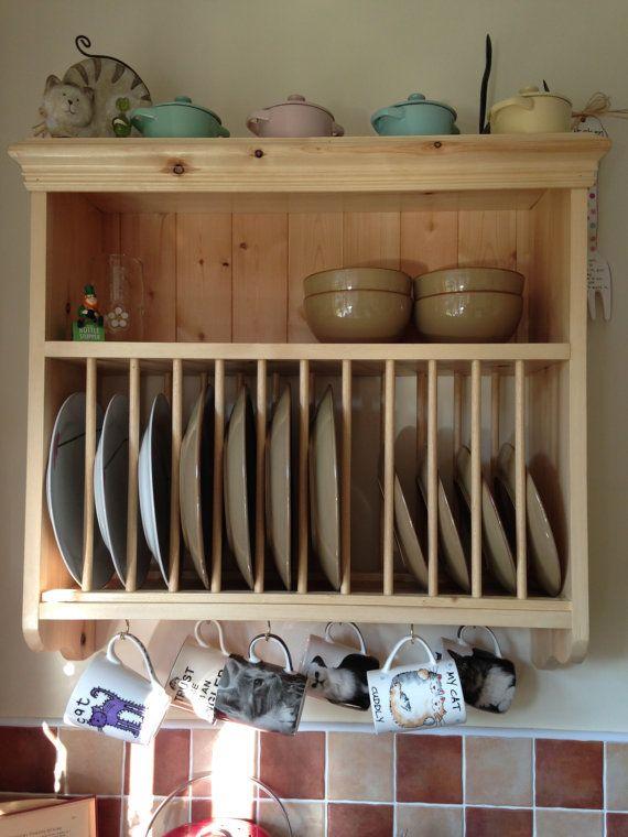 Unidad de pared de la cocina de pino s lido ganchos para - Rack para platos ...
