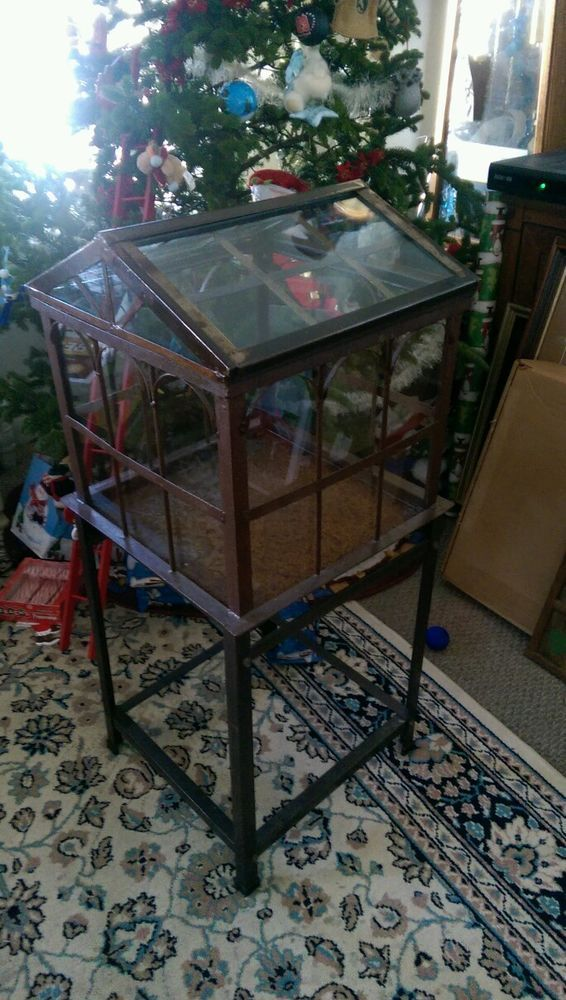 Vintage Glass Amp Metal Terrarium Plant Greenhouse Floor