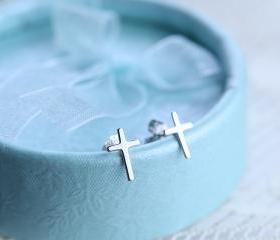 Tiny Cross Sterling Silver Stud Earrings
