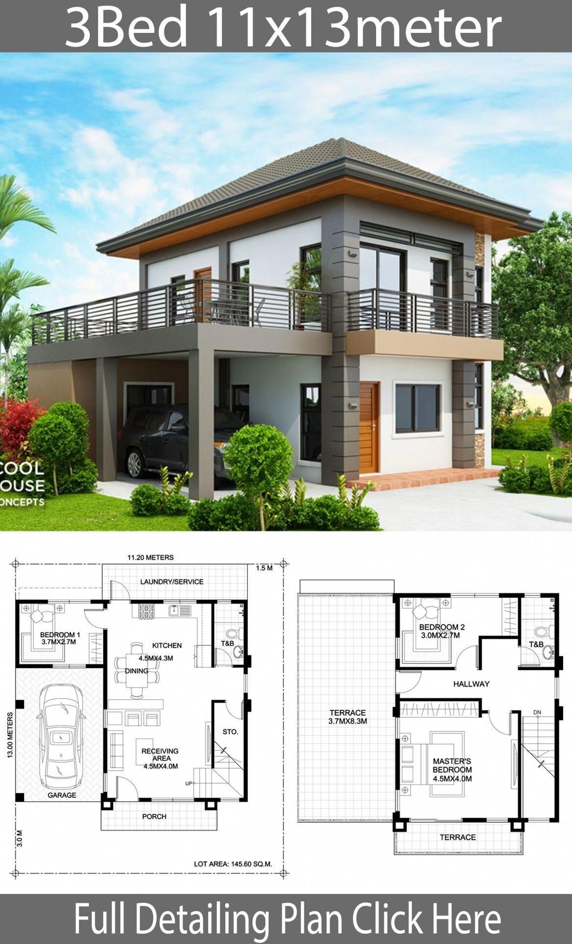 Home Design Plan 11x13m With 3 Bedrooms Home Design With Plansearch Homedesign In 2020 2 Storey House Design House Construction Plan Small House Design Plans