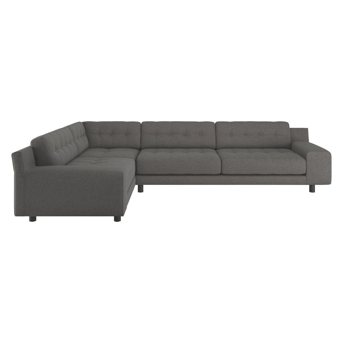 Flake Fabric Right Corner Sofa In Grey With Metal Legs Corner Sofa Sofa Fabric Sofa
