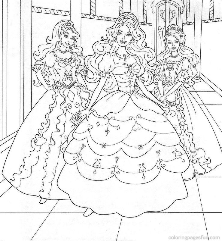 Sweet Princess Barbie With Friends Coloring Pages
