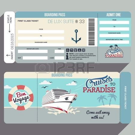 Cruises To Paradise Cruise Ship Boarding P Flat Graphic Design Template Face And Back Side