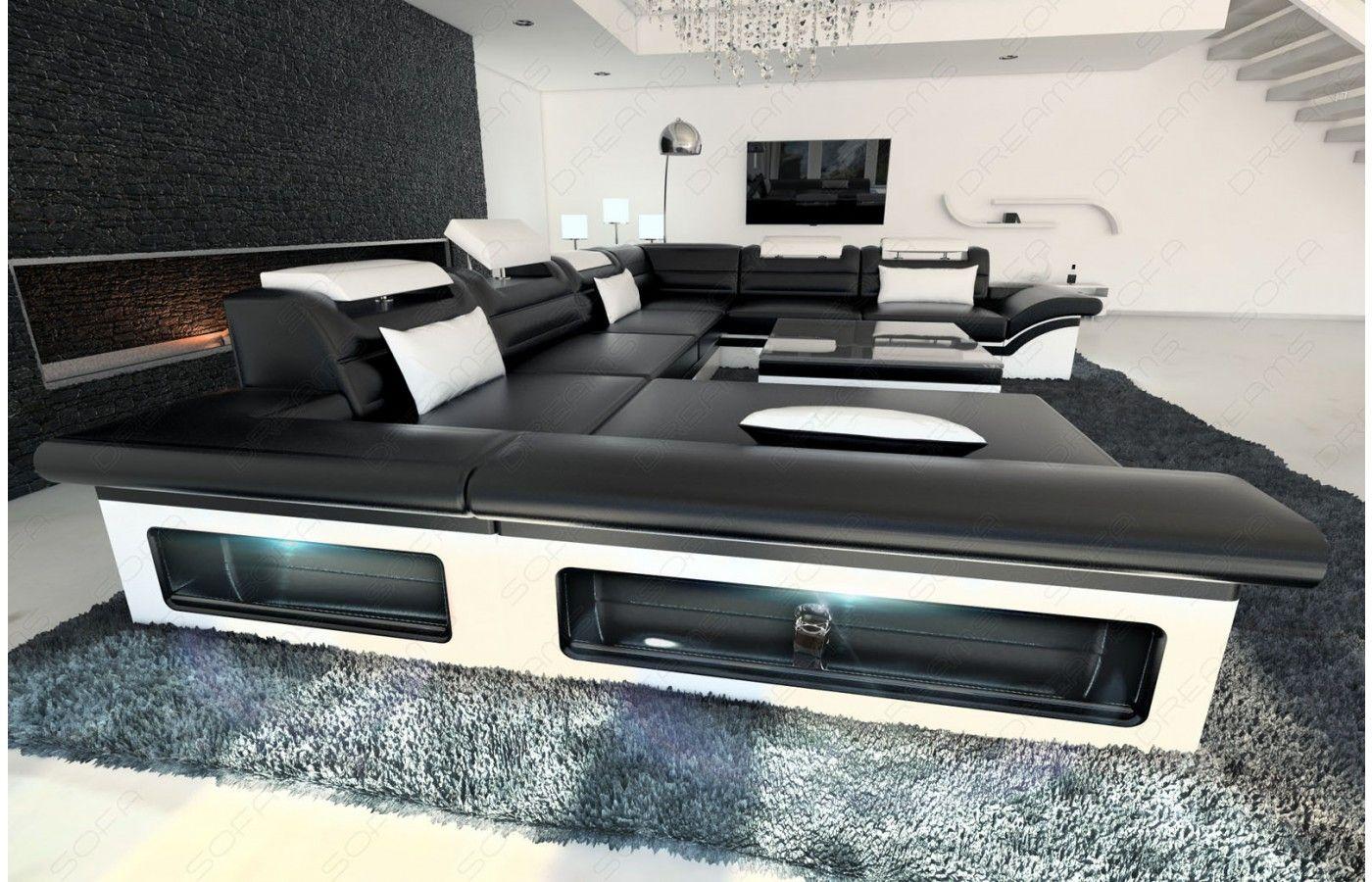wohnlandschaft enzo xxl in schwarz-weiß - exklusive designer