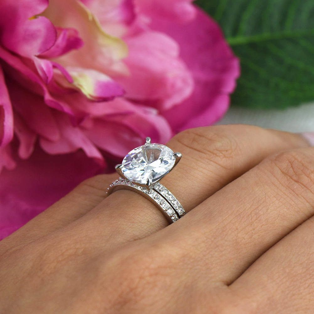 5.25 ctw Oval Accented Solitaire Set | Products | Pinterest | Bridal ...