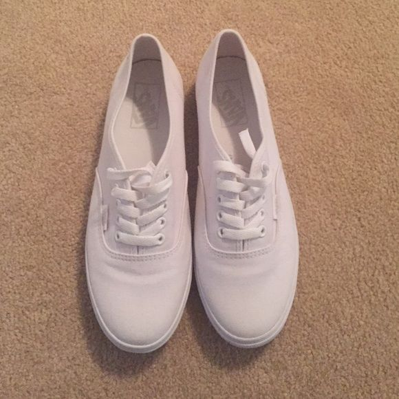 Like new white on white vans Like new white on white vans, wore one time. Perfect condition. Vans Shoes Sneakers