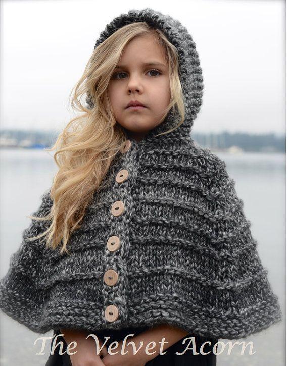 Knitting Pattern Bairn Cape 2 3/4 5/7 8/10 by Thevelvetacorn