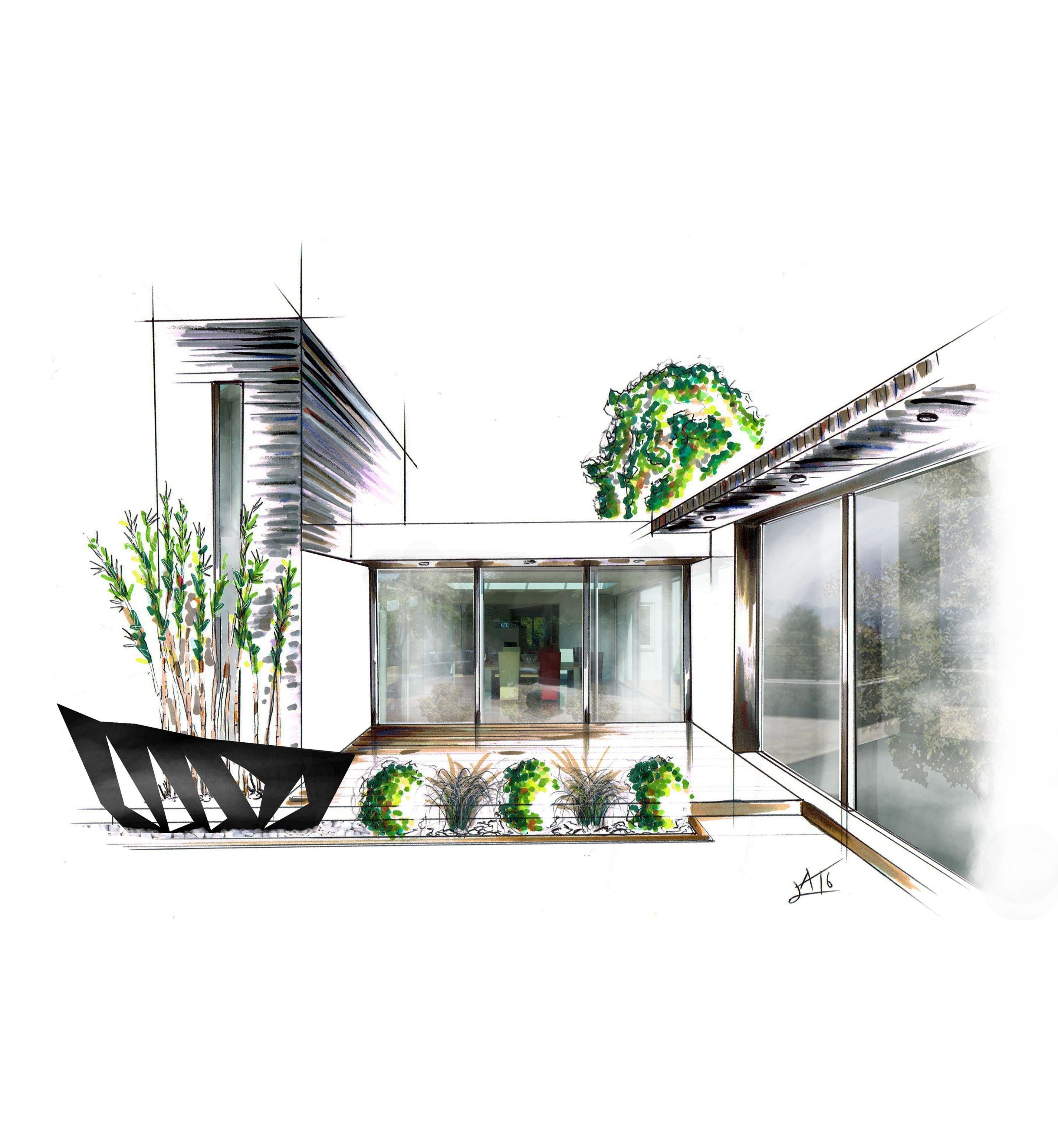 Dessin perspective croquis paysage artiste alexandre trubert a t elier 16 design architecte d