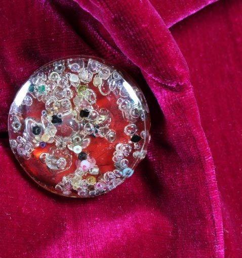 Schiaparelli - Manteau du Soir - Velours Fuschia Foncé et Boutons en Verre Style Murano - Années 30