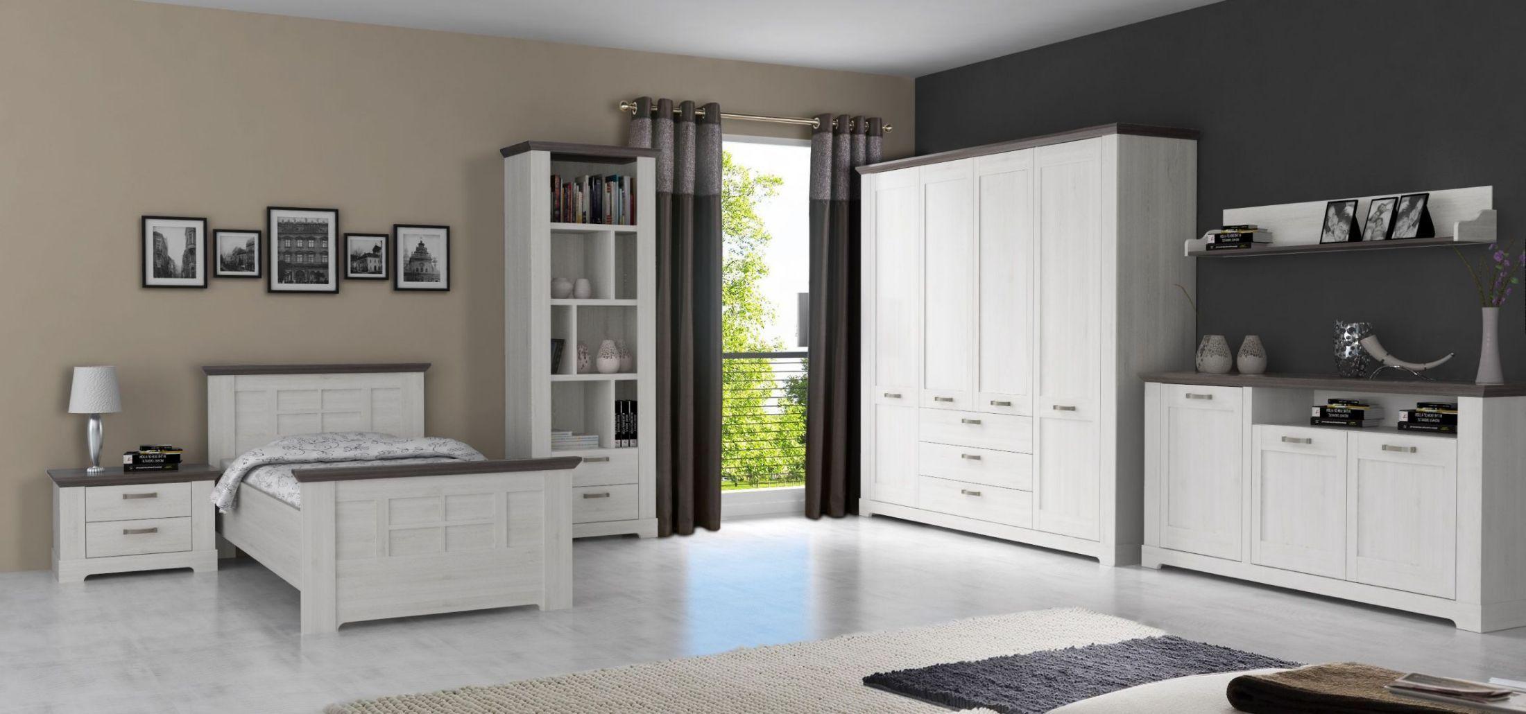 Schlafzimmer Schneeeiche/ Pinie Grau Mit Sideboard Woody 77 01047 Weiss Holz  Modern Jetzt Bestellen