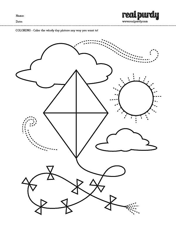 Coloring Page Kite Real Purdy Projects Pinterest Kites