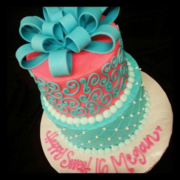 Sweet 16 cake and it has Megan on it Cakes Cupcakes