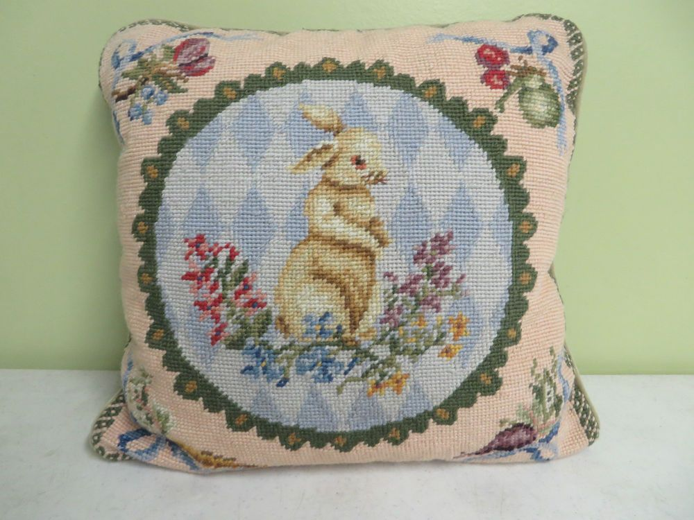 "Hand Made Pillow Needlepoint Rabbit Beige Velvet Backing Zipper 13"" X 13""  #Handmade"