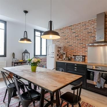 Cuisine style industriel deco maison pinterest for Amenagement cuisine industrielle