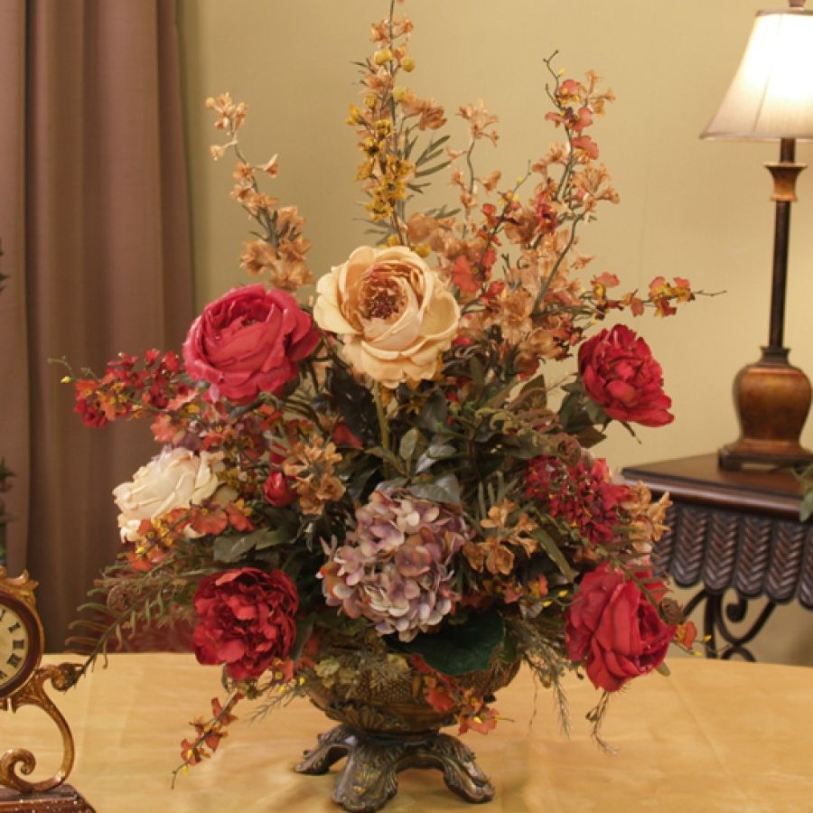Augusta rose and hydrangea silk flower arrangement flower burgundy gold silk arrangement a large glorious array of color in this beautiful silk flower arrangement of hydrangeas roses orchids and fern fronds izmirmasajfo