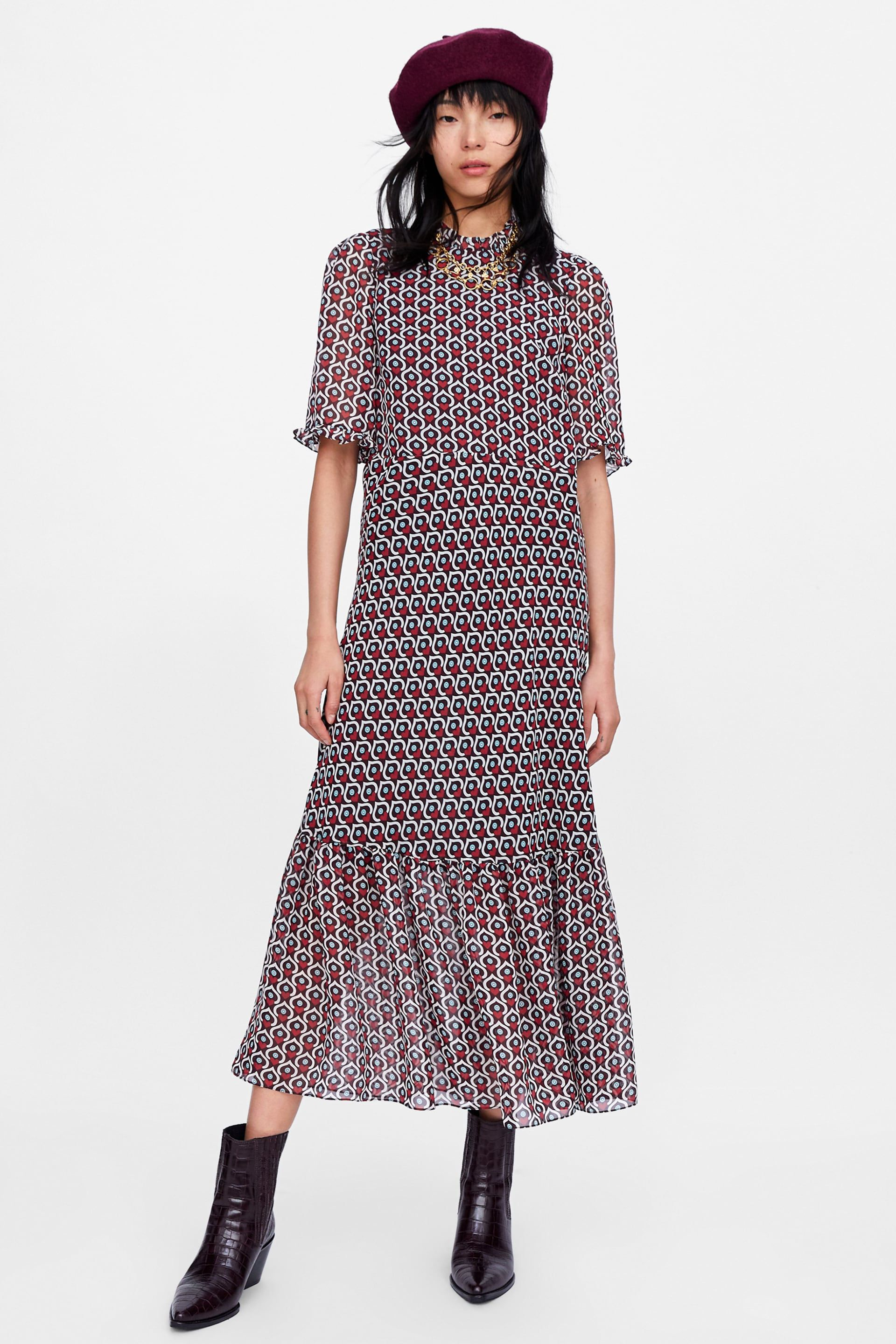 0eef78bb Image 1 of HEART PRINT MIDI DRESS from Zara HEART PRINT MIDI DRESS Heart  Print,