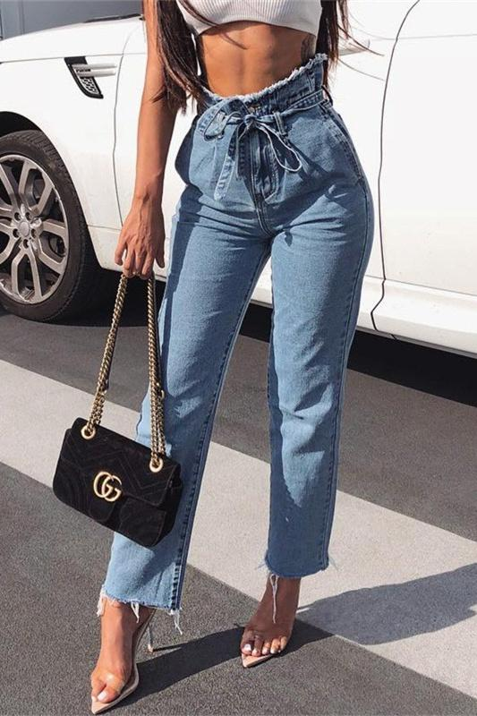 936369ec7 Cotton Fabric Approx Length 94-98cm High Waist Raw Hem Waist TIe-up Zipper  Fly Chic   Street   Casual Style 1 PC for 1 PAC AVAILABLE IN COLOR BLUE   BLACK