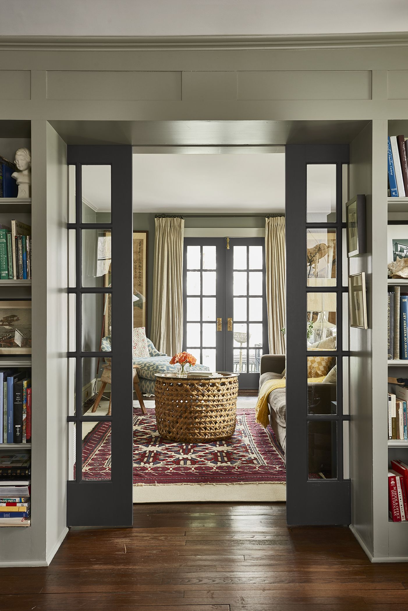 A True To Form 1929 Farmhouse French Country Living Room Country Living Room French Pocket Doors Living room french doors