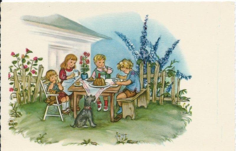 Oude kinderkaart.Theevisite in de tuin