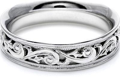 Tacori Mens Wedding Band With Hand Engraved Scroll Work 6 0mm Mens Designer Wedding Rings Mens Wedding Bands Wedding Rings