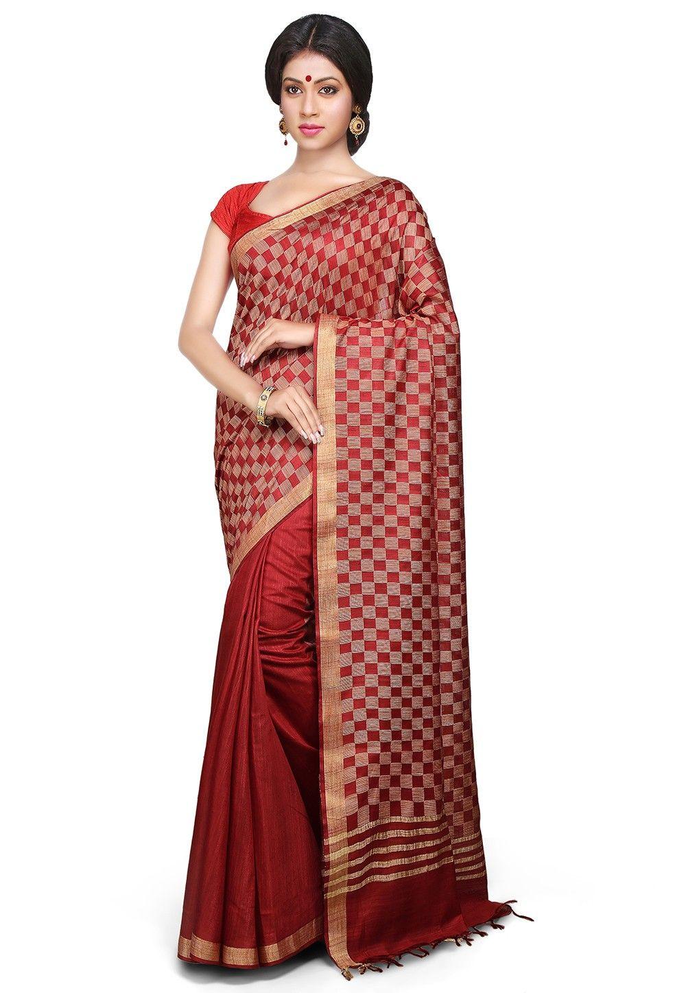 Maroon silk saree handloom silk saree in maroon  sarees  pinterest  silk sarees and