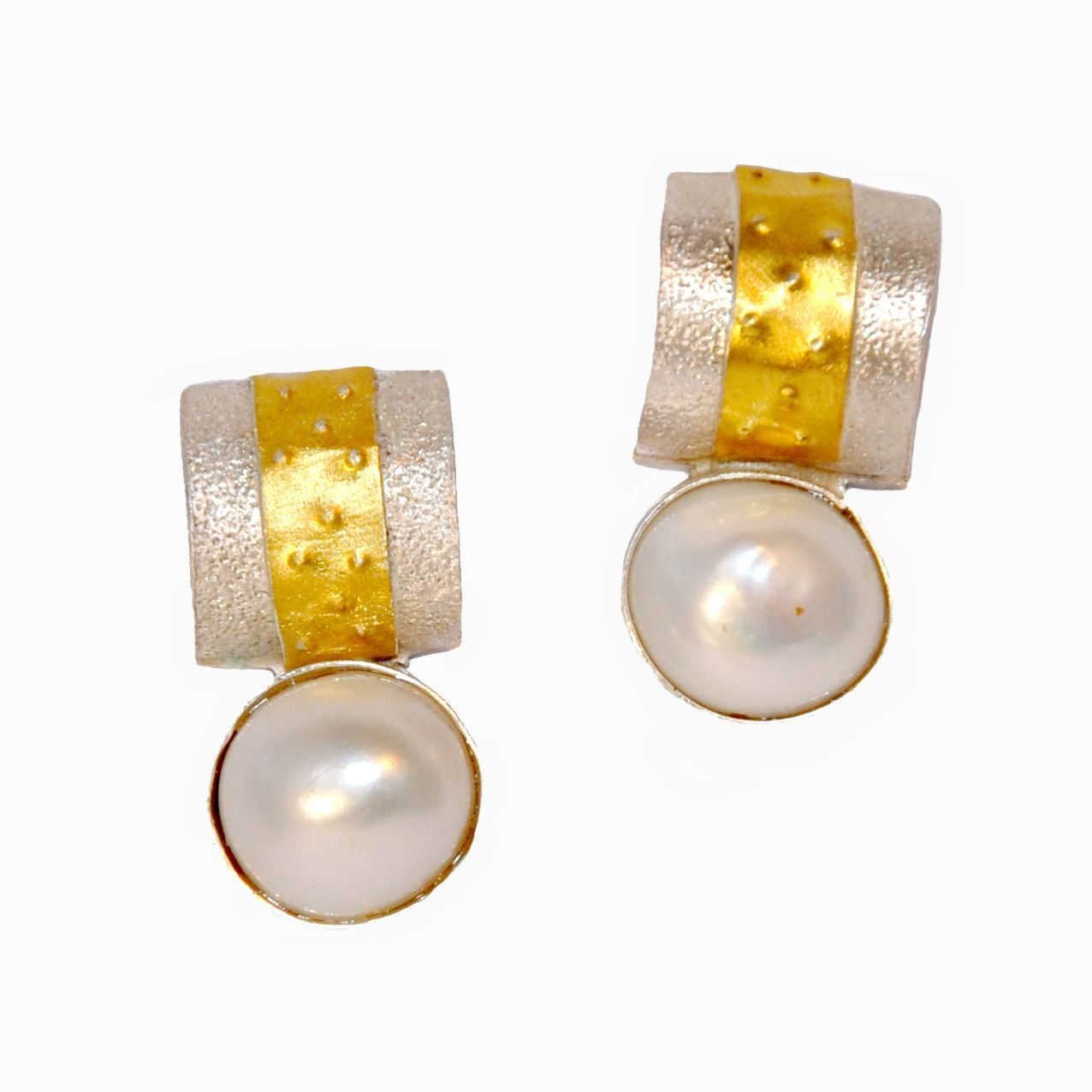 22Kt Gold Sterling Silver and Pearl Barrel Earrings by Shellie