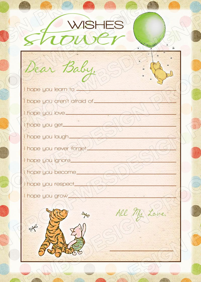 INSTANT DOWNLOAD: Classic Winnie the Pooh Wishes Baby Shower Game ...