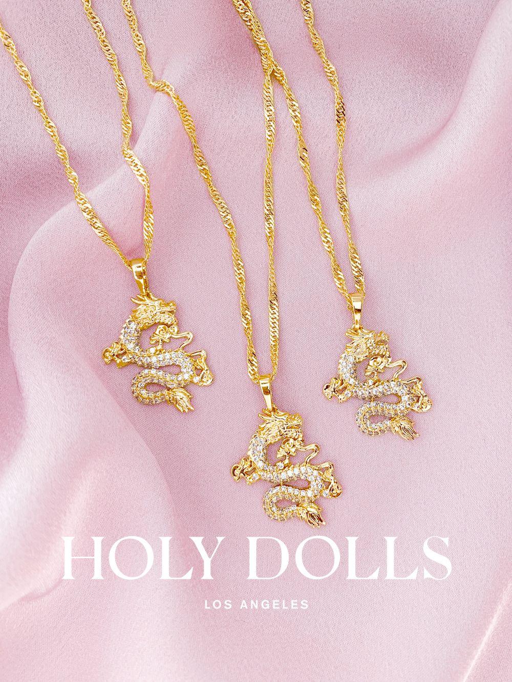 "Super Adorable Mini /""Dragon/"" Rose Gold Plated Pendant Necklace"